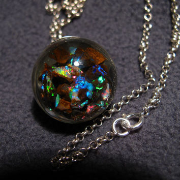 Floating Opals Pendant. Stunning Bright Gem Grade Boulder Opal, Sterling silver 925 cap, bail & chain. Murano Glass