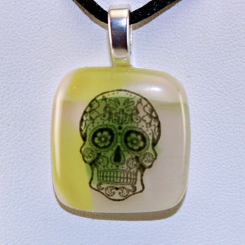 Halloween Fused Glass Necklace - Sugar Skull Fused Glass Pendant