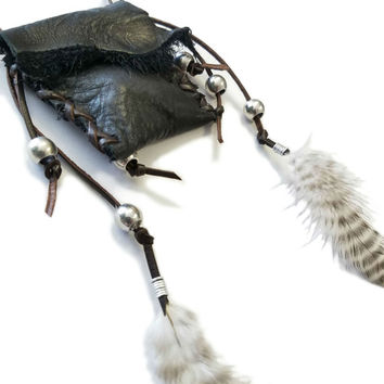 Ready To Ship,Medicine Bag Necklace,Medicine Pouch,Leather Bag,Native American,Southwestern,Real Feather Necklace, Feather Tassle Necklace