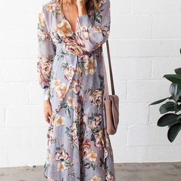"""Romance"" Silver Chiffon Floral Wrap Maxi Dress [ Extended Sizes ]"