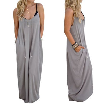 Sexy Women Lady Casual Strap Sling Loose Fitting Sleeveless Long Maxi Dress