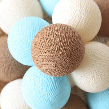 Pastel Brown Cream Blue 20 Handmade Cotton Ball Patio Party String Lights – Fairy, Wedding, Holiday, Home Décor