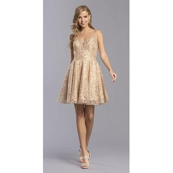 Gold Homecoming Short Dress with Beaded Spaghetti Straps