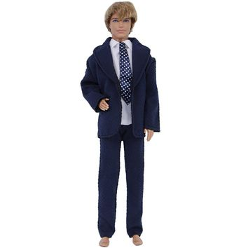 3 In 1 Formal Suit Wedding Party Wear White Shirt Dot Tie Trousers Pants Blue Clothes For Barbie Doll Friend Ken Accessories Toy