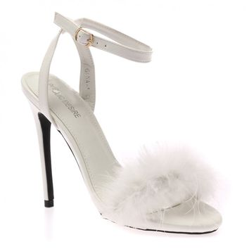 Lulu White Fluffy Heeled Sandals