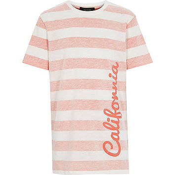 River Island Boys orange stripe California print t-shirt