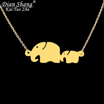 DIANSHANGKAITUOZHE Tattoo Choker Maxi Necklace Colar De Supernatural Body Chains Mom Baby Elephant Necklace Bridesmaid Gift