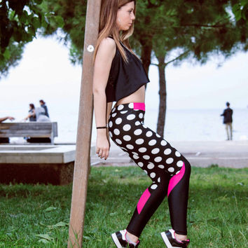 Women Leggings, Black White Polka Dot - Fuchsia Leggings, Printed Pants, Workout Pants, Stretch Leggings, Yoga Pants, Gym Leggings, Sport