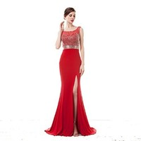 Red mermaid prom dresses beaded wedding dresses bridesmaid dresses beads belt split evening dresses