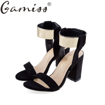 Gamiss summer thick heel sandals metal design open toe women's platform sandals nubuck leather high heels shoes soft pu sandals