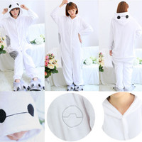 New Arrived Flannel Big Hero 6 Cute Baymax Onesuit Kigurumi Pajamas Anime Cosplay Costume Sleepwear