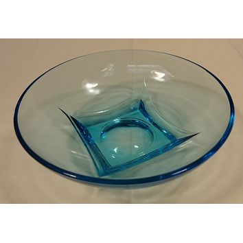 Designer 64-58FH Vintage Bowl Blue Depression Glassware 6in Glass  -- Used