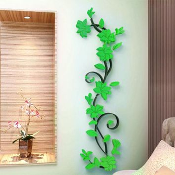3D DIY Removable Art Vinyl Wall Stickers Vase Flower Tree Decal Mural Home Decor For Home Bedroom Decoration