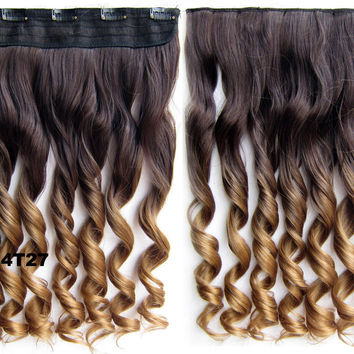 "Dip dye hairpieces New Fashion 24"" Women Clip in on gradient wig Bath & Beauty Hair Ombre Hair Extensions Two Tone Curly Hair Gradient Hair Extension Colorful Hairpieces GS-888 4T27,1PCS"
