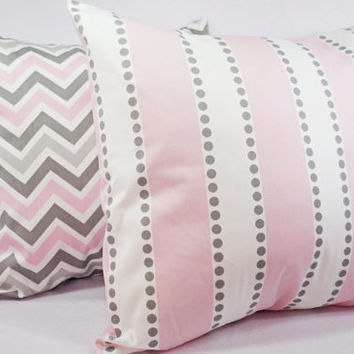 Pink Pillow Covers - Two Pillow Covers Baby Pink Grey and White - 20 x 20 inches Throw Pillow Couch Pillow Cushion Cover Accent Pillow