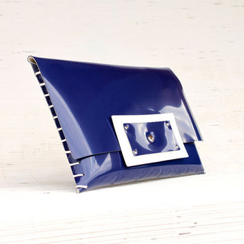 Blue clutch Women's clutch bag Something blue Handmade handbag Vinyl envelope clutch Large clutch for her Glossy blu evening clutch Laptop