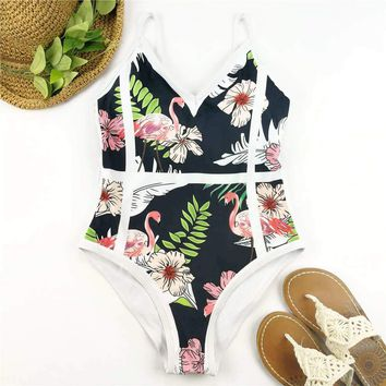Patchwork One Piece Swimsuit Flamingo Print Swimwear Women Floral Swim Suit High Cut Monokini Trikini Bath Suit Backless Beach