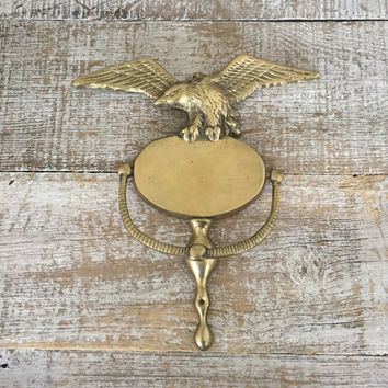 Doorknocker Vintage Brass Eagle Door Knocker Mid Century Brass Door Hardware Brass American Eagle Door Knocker Brass Door Accessories
