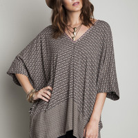 Oversized V-Neck Tunic - Mocha
