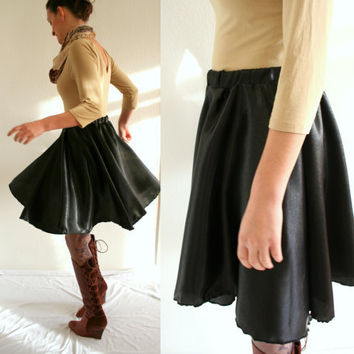 Black slipin skirt circle skirt black satin with by Bartinki