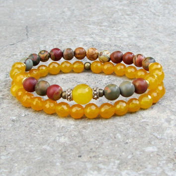 Joy and Friendship, Yellow jade and picasso jasper mala bracelet stack