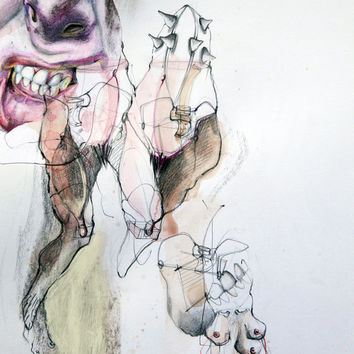 MOUTH ANATOMY,illustration art, fine art drawing, original surreal drawing, fine art painting, white, pink, grey, small size