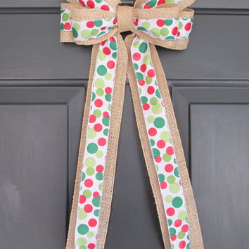 Burlap & Red Green White Polka Dot Bow, DIY Wreath Change Out, Home Door Floral, Fall Winter Christmas Holiday, Rustic Shabby Chic