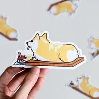Corgi Breadloaf Vinyl Sticker