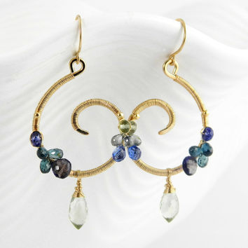 Blue gemstone spiral earrings in 14k gold filled