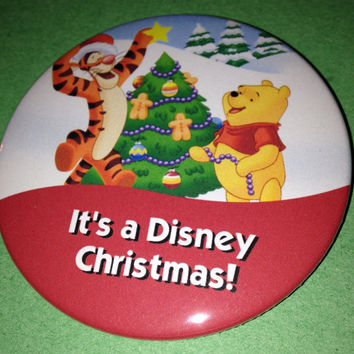 Winnie the Pooh and Tigger Disney Christmas Button