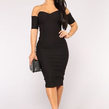 One In A Million Off Shoulder Dress - Black