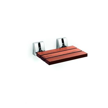 LB Scagni Folding Shower Seat in Teak Solid Wood, Fold Down Spa Bench Stool