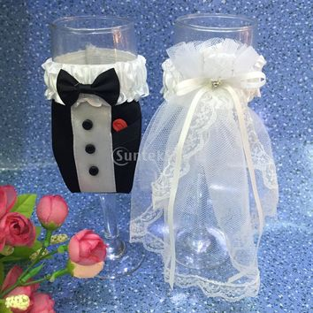 Bride Groom Dress Wedding Wine Glass Cover - Champagne Cup Cover Decoration 2pcs Free Shipping