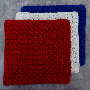 Washcloth Set of 3, Crochet Dishcloth, Spa Cloth, Cotton Blend Washcloths, Red White Blue Cloth Set, Cleaning Cloths, Dish Rag, Dust Cloth
