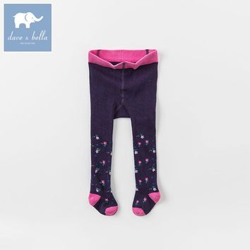 DB6279 dave bella autumn winter infant baby girls lolita purple printed leggings children leggings