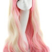 MapofBeauty Beautiful Long Wavy Harajuku Style Cosplay Wig (Beige/ Pink)
