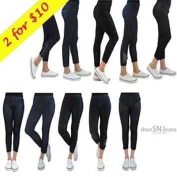 2 For $10 New Women Skinny Stretchy Sexy Jeggings Jean Denim Gym Capri Leggings