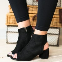 Lucy Open Toe Black Bootie