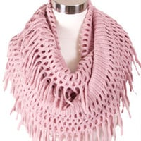 Cozy Fringe Infinity Scarf in Pink