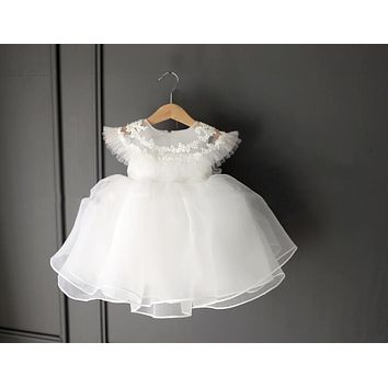 High Quality flower baby girl dress white 1 year birthday dress infant baptism clothes for party wedding vestido infantil 9-24M