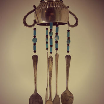 Wind chime with re purposed vintage silver plated flatware - sugar bowl with black and turquoise stone  sbeads