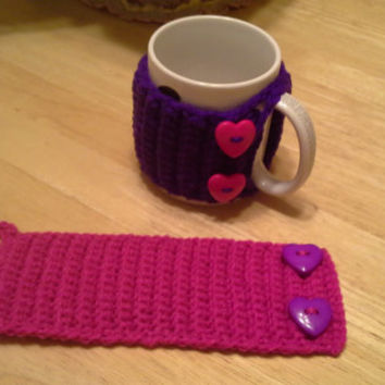 Pink and Purple Heart Button mug cozy set, Crochet Mug Cozy, coffee cup cozies, koozie