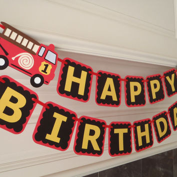 Fire Truck Birthday Banner for Firetruck Theme Party with Age and Custom Name Option by Feisty Farmers Wife