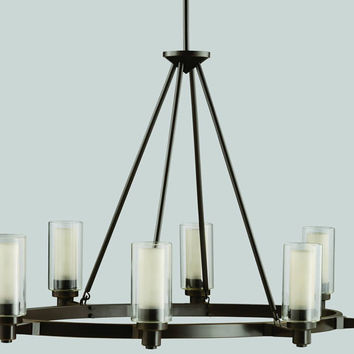 "0-008760>36""w Circolo 8-Light Kitchen Island/Pool Table Fixture Olde Bronze"