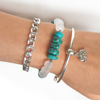 Boho bracelet stack, elephant bracelet set with chain, turquoise color howlite beaded bracelet in silver and white