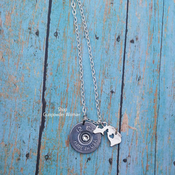 MICHIGAN State 12 Gauge Shotgun Shell Necklace for the Country Firearm Hunting Gun Girl
