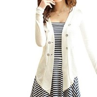 Woman Long Sleeve Mock Pockets Button Up Cardigan