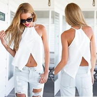 Sannysis Women Backless Cross Camisole Back Casual Shirt