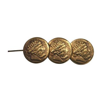 Pre-owned Dionysos Triple Gold Coin Pin