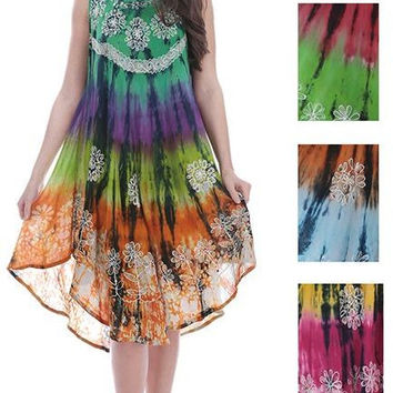 women's batik tie dye dresses - floral tapestry Case of 48